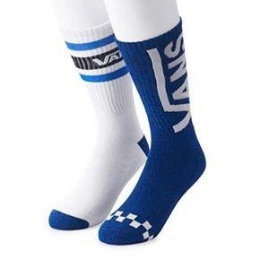 VANS Men's Crew 2 pack Socks Blue White, size 9-13